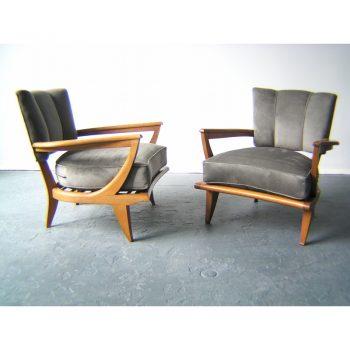 etienne henri martin, steiner, french, armchairs, 1940s, art deco,