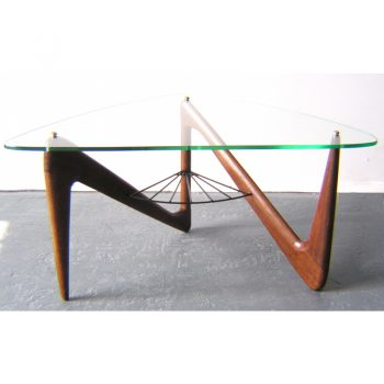 coffee table, louis sognot, 1950s, oak, glass