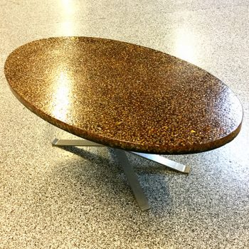 pierre giraudon-oval-coffee table-resin-1970s-crackle-glass inclusion