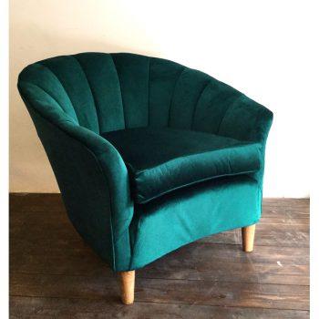 1950s-italian-armchair-shell-club chair-velvet-lounge chair-coquille