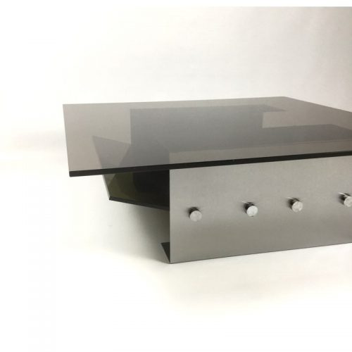 1970s stainless steel coffee table and magazine rack (12)