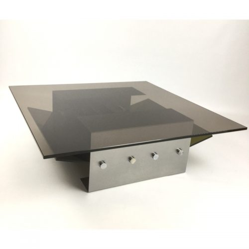 1970s stainless steel coffee table and magazine rack (7)