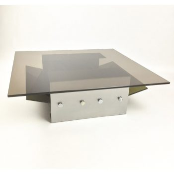 1970s-stainless steel-coffee table- french-kappa-francois monnet-michel boyer-patrice maffeÏ