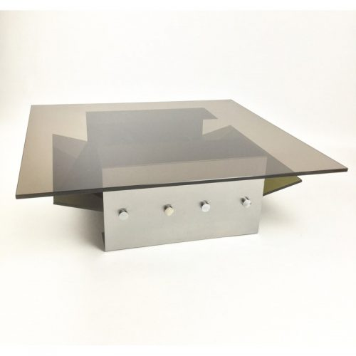 1970s stainless steel coffee table and magazine rack (8)