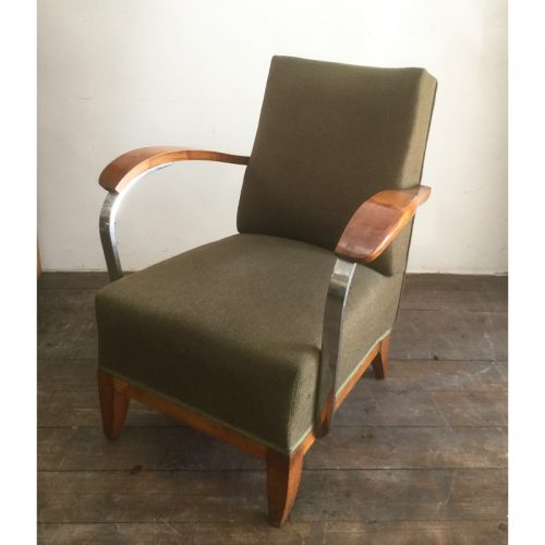 1930s art deco french green armchair (11)