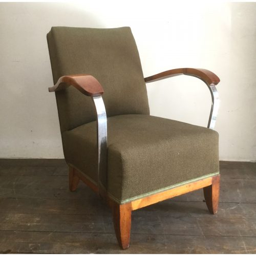 1930s art deco french green armchair (14)