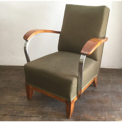 1930s art deco french green armchair (2)