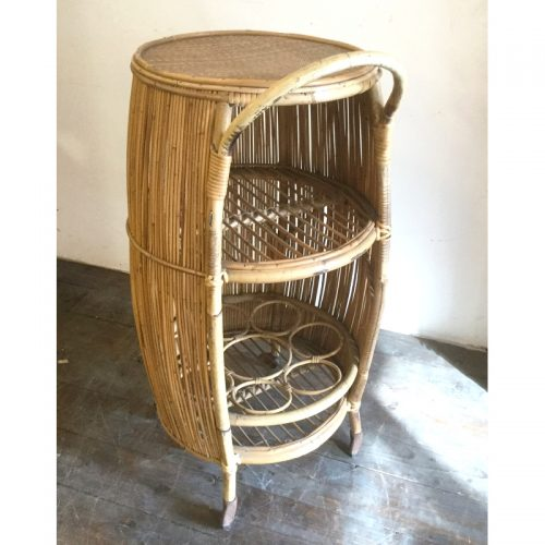 Bamboo liquor cabinet drinking trolley 1950s (1)