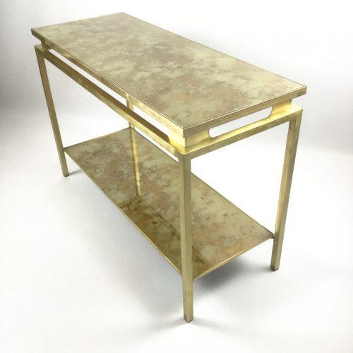 1970s brass brush side table by guy lefevre (15)