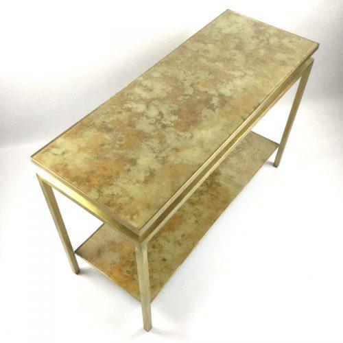 1970s brass brush side table by guy lefevre (2)