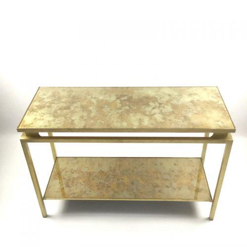 1970s brass brush side table by guy lefevre (7)