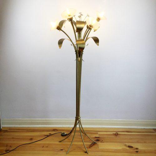 1970s floor lamp style maison jansen brass floral JPG (1)