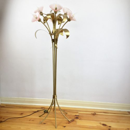 1970s floor lamp style maison jansen brass floral JPG (15)
