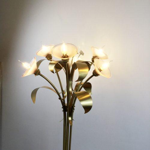 1970s floor lamp style maison jansen brass floral JPG (6)