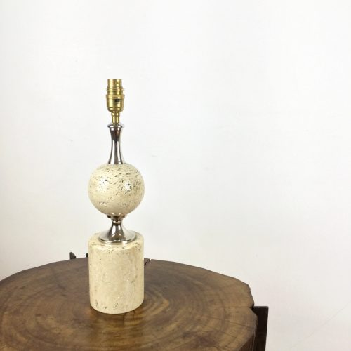 travertine table lamp maison barbier france 1970s (1)