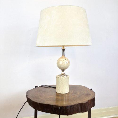 travertine table lamp maison barbier france 1970s (5)