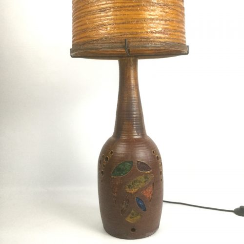 1960s french accolay large teracotta and resin lamp (17)