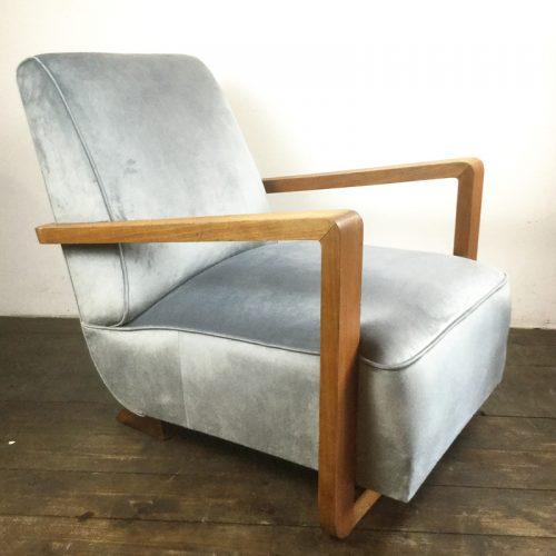 art deco velvet armchair 1930s (3)