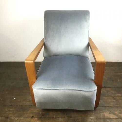 art deco velvet armchair 1930s (4)