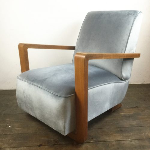 art deco velvet armchair 1930s (5)
