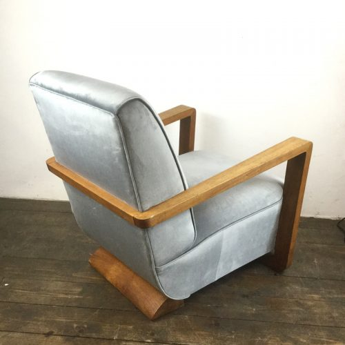 art deco velvet armchair 1930s (7)