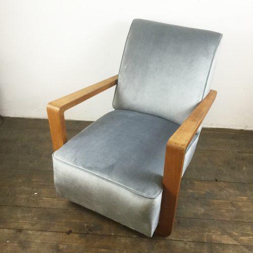 art deco velvet armchair 1930s (8)