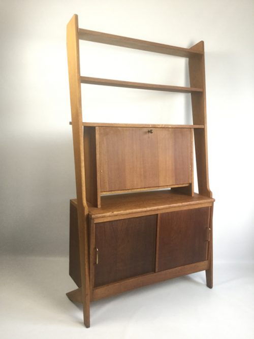 1950s French secretaire shelving unit (5)