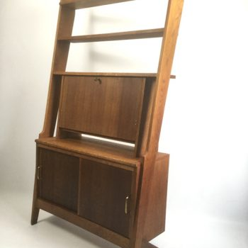 French-secrétaire-desk -bookshelf-unit-oak-1950s