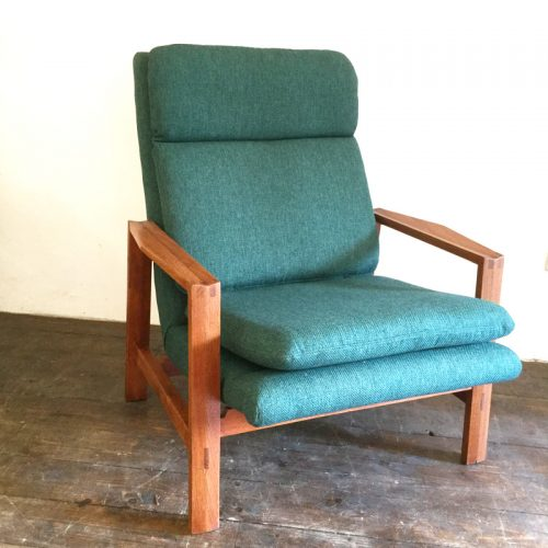 1950s green armchair michel mortier style (1)