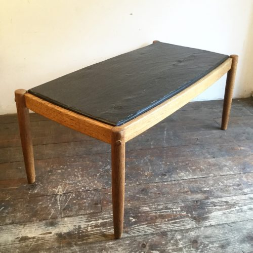 oak belgium coffee table with slate top, 1960s (12)