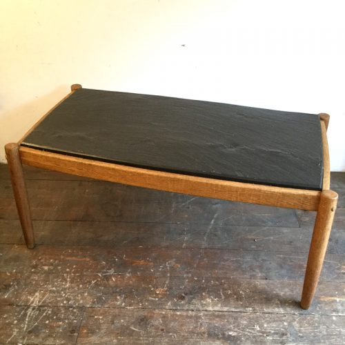 oak belgium coffee table with slate top, 1960s (2)